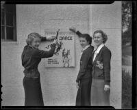 Jeanne Rhodes, Adelaide Stevens, and Katherine Bush promoting school dance, Santa Monica, 1936