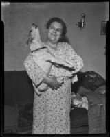 Mrs. George Merrick and her fox terrier Whimpy, Costa Mesa, 1936