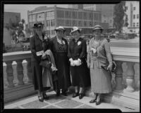 Mrs. C. H. Turner, Mrs. W. T. Gillis, Mrs. R. T. Goodhue, and Mrs. Mark F. Jones at the P. T. A. Convention, Pasadena, 1936