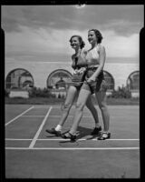 Marilyn Langworthy and Barbara Mayfield after a game of badminton, Palm Springs, 1936