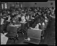 Women sit for a civil service test at Belmont High School, Los Angeles, 1936