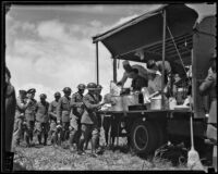 Men line up at mobile kitchen on Army Day at Grand central Airport, Glendale, 1936