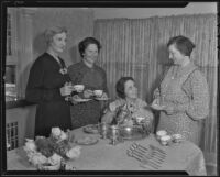 Council Presidents' Ethel Raith, Ivy Gresser, Verna Berquist, and Mrs. Clarence West having tea, Los Angeles, 1936