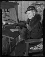Mary Anna Colton quietly celebrates the Jayhawkers anniversary, Norwalk, 1936