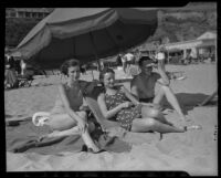 Mary Prince, Lorna Wade and Earl Halliburton at the Bel-Air Bay Club, 1936