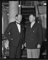 Philip J. Fay and George Cameron talk politics, Los Angeles, 1936