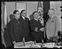 Pol. Comm. Kleinberger, Capt. Harry Seager, Chief James E. Davis, and Joseph Taylor, Los Angeles, 1936