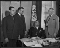 Pol. Comm. Raymond Kleinberger, Capt. Harry Seager, Chief James E. Davis, and Joseph Taylor, Los Angeles, 1936