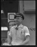 Fred Davis, winner of Irish Sweep smiles at his good luck, San Pedro, 1936