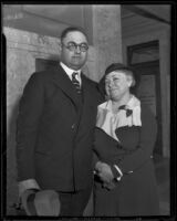 Erwin P. Werner and his wife, Mrs. Helen Werner appear in Federal court, Los Angeles, 1936