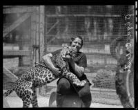 Swedish animal trainer Olga Celeste and Eckie the leopard, California Zoological Garden, Los Angeles, 1936