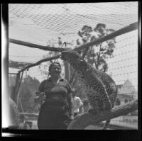 Olga Celeste and a leopard, California Zoological Gardens, Los Angeles, 1936