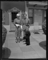 Mr. and Mrs. Anton and Teddy Fera von Horvath with their dog, Los Angeles, 1936