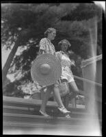 Mrs. Edward Ford, Jr. and Miss Nancy Bayly head toward the beach, Santa Barbara, 1936