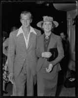 Actor and Olympiate Herman Brix and his wife Jeanette Braddock attend a movie premiere, Los Angeles, 1936