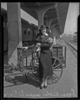 Lynn Keebler on the train platform, Los Angeles, 1936