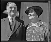Judge Paul McCormick and his wife, Mary McCormick, return to the United States after two months abroad, Los Angeles, 1936