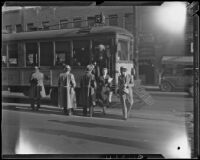 Los Angeles Railway street cars continue operation amid union strike, Los Angeles, 1934