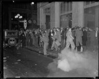 Protesters fleeing from tear gas during Los Angeles Railway strike, Los Angeles, 1934