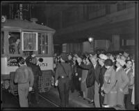 Police officers clear Los Angeles Railway strikers, making way for street cars, Los Angeles, 1934