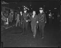 Protester John Bulnarski arrested during L. A. Railway strike, Los Angeles, 1934