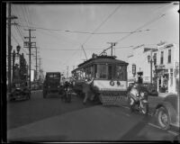 Street car escorted by police during Los Angeles Railway strikes, Los Angeles, 1934