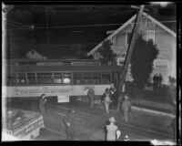Derailed street car crashes into trolley post, Los Angeles, 1934