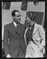 Actress Binnie Barnes greets her husband, Samuel Joseph, at the airport, Los Angeles, 1936