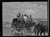 Captain William Banning driving a stagecoach at the Los Angeles County Fair, Pomona, 1936