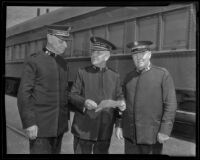 Commander Benjamin Orames, General Edward J. Higgins and Colonel Arthur Daniel Jackson of the Salvation Army arrive in Los Angeles, Los Angeles, 1936