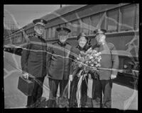 Commander Benjamin Orames, General Edward J. Higgins, Catherine Higgins, and Colonel Arthur Daniel Jackson of the Salvation Army, Los Angeles, 1936