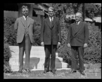Alfred L. Bartlett, Joseph J. Webb, and Judge William H. Donahue pose for a photograph, Pasadena, 1928