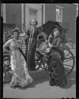 Gwen Carlson, Martha Brisacher, and Betty Ferris celebrate the Friday Morning Club's 46th birthday, Los Angeles, 1937