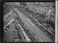 Armistice Day Parade outside of the Los Angeles City Hall, Los Angeles, 1937
