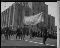 Armistice Day Parade outside of the Los Angeles Times building, Los Angeles, 1937