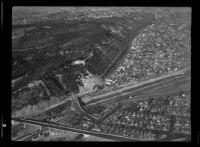 Aerial view of Elysian Park landslide, Los Angeles, 1937