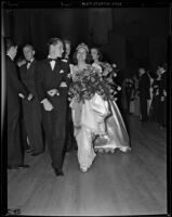 Barbara Dougall crowned Tournament of Roses queen, Pasadena, 1938