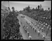 Marching band at the Tournament of Roses Parade, Pasadena, 1939