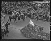 Shirley Temple riding a float as the Grand Marshal of the 50th Tournament of Roses Parade, Pasadena, 1939