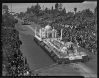 """Taj Mahal"" float from Santa Barbara at the Tournament of Roses Parade, Pasadena, 1939"