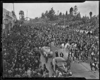 Spectators leaving Tournament of Roses Parade, Pasadena, 1939