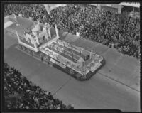 "Santa Barbara's ""Taj Mahal"" float at the Tournament of Roses Parade, Pasadena, 1939"