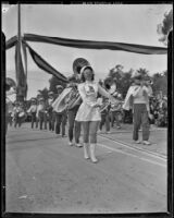 Juanita Brest leading the Pomona Junior College Band at the Tournament of Roses, Pasadena, 1939