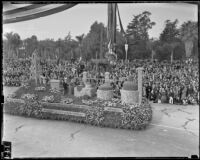 """Romance of the Oil Industry"" float from Standard Oil at the Tournament of Roses Parade, Pasadena, 1939"