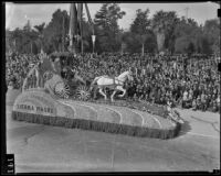 """Seeing Nellie Home,"" Sierra Madre float in the Tournament of Roses Parade, Pasadena, 1939"