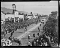 General view of Tournament of Roses Parade, Pasadena, 1939