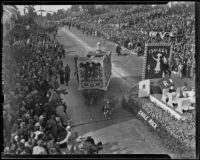 Dr. Ross Company float swerves towards spectators at the Tournament of Roses Parade, Pasadena, 1939