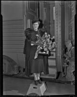 Grand Duchess Marie with a bouquet of flowers, Santa Fe Springs, 1939