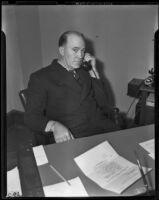 Ernest E. Pyles on the telephone, Los Angeles, 1939