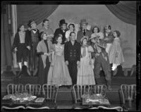"Cast of ""The Drunkard"": Merwin Lucas, Jeffrey Williams, Larry Grenier, Nestor Paiva, Lois Hunt, Sam Ethridge, Zan Joyce, Tom Miller, Helen Westcott, Jan Duggan, Mary Tock, George Stuart, Ada Lilly, and Karl Thomas, Los Angeles, 1938"
